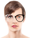 Eyewear glasses half man half woman portrait, wear spectacles royalty free stock images