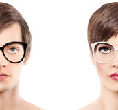 Eyewear glasses half man half woman portrait, wear spectacles. Isolated on white background Royalty Free Stock Photo