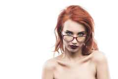 Eyewear glasses woman portrait isolated on white. Spectacle frame type 3 Royalty Free Stock Photo