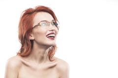 Eyewear glasses woman portrait isolated on white. Spectacle frame type 6 Stock Photos