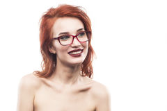 Eyewear glasses woman portrait isolated on white. Spectacle frame type 3 Stock Image