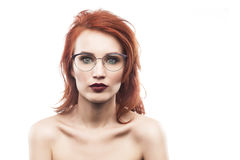 Eyewear glasses woman portrait isolated on white. Spectacle frame type 4 Stock Photography