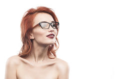 Eyewear glasses woman portrait isolated on white. Spectacle frame type 7 Royalty Free Stock Photography