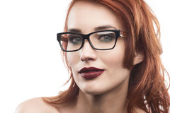 Eyewear glasses woman portrait isolated on white. Spectacle frame type 7 Royalty Free Stock Image