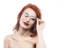 Eyewear glasses woman portrait isolated on white. Spectacle frame type 4 Royalty Free Stock Image