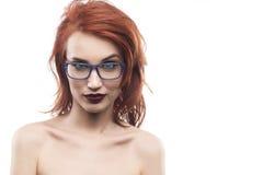 Eyewear glasses woman portrait  on white. Spectacle fram. E type 1 Royalty Free Stock Photo