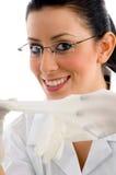 eyewear handskar för doktor som ler slitage Arkivbild