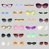 Eyewear transparente e opaco ajustado para o clipart ilustração stock