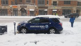 Eyewitnesses News in Snow Storm. News report in a snow storm Stock Photos