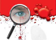 Eying up the Evidence. A landscape format illustration of blood spatters on a white background, with a magnifying glass highlighting a mans eye with dripping Royalty Free Stock Photos