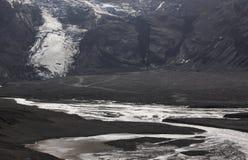 Eyjafjalajokul glaciar tongue, river and 4wd vehicle. Royalty Free Stock Image