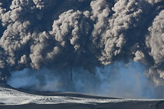 Eyjafjallajokull volcano. Ash cloud fallout from the Eyjafjallajokull eruption in Iceland Stock Image