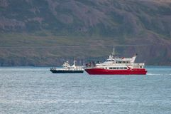 Whale Watching safari boats Kunsull and Holmasol. Eyjafjordur Iceland - August 31. 2017: Whale Watching safari boats Kunsull and Holmasol stock image