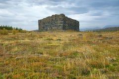 Eyjan-Felsen in Asbyrgi Stockbild