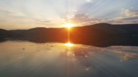 Eymir Lake Sunset Fulica Atra. With sunset view royalty free stock photos