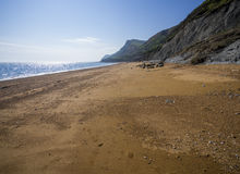 Eype Beach in Dorset. Beach in Eype in Dorset County in England stock photo