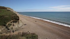 Eype beach Dorset England uk Jurassic coast south of Bridport and near West Bay stock footage