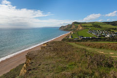 Eype Dorset England uk Jurassic coast view with path Royalty Free Stock Photos