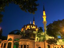 Eyup Sultan mosque at night. Eyup Sultan mosque in Istanbul, Turkey. Historical Ottoman mosque in Istanbul. Historic Ottoman old building Royalty Free Stock Images