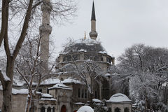 Eyup Sultan Mosque with snow in Istanbul. Royalty Free Stock Images