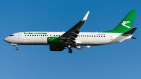 EZ-A020 Turkmenistan Airlines, Boeing 737-800. EZ-A020 is on final approach runway 05 at Istanbul Ataturk Airport LTBA, August 12, 2018 royalty free stock image