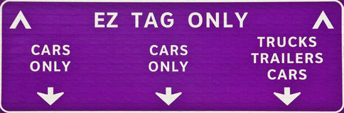 Ez tag. A EZ tag sign for a toll road Stock Image