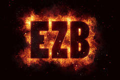 Ezb finance eu euro bank banking fire flame flames burn. Hot Stock Image