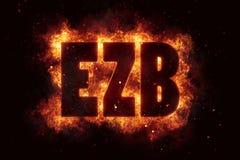 Ezb finance eu euro bank banking fire flame flames burn Stock Image