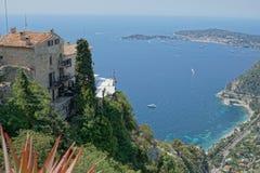 Eze,法国-海和大厦看法  库存图片
