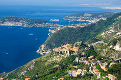 Eze and Cap Ferrat. Eze village over Mediterranean Sea and Cap Ferrat Stock Image