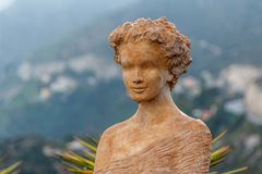 Statue in the exotic garden in Eze stock photography