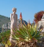 Statue of a woman in Eze exotic garden, France stock photography