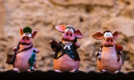 Eze, France - 2019.Solft focus photo of three little pigs toys stock photo