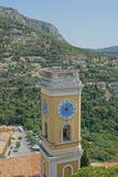 Eze, Francia - vista della torre di orologio Fotografia Stock Libera da Diritti