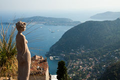 Eze, French Riviera. Eze, renowned tourist site on the French Riviera, is famous worldwide for the view of the sea from its hill top Royalty Free Stock Images