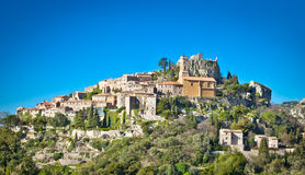 Eze gammal by i Alpes-Maritimes Frankrike Royaltyfria Foton