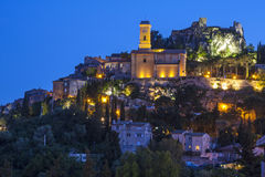 Eze at night. Eze is a medieval village in the Alpes-Maritimes department in southeastern France, not far from the city of Nice Royalty Free Stock Images