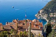 Eze by på medelhavet i Frankrike Arkivbilder