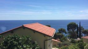 Eze sur Mer and Cap Ferrat, Cote d`Azur, France stock video footage