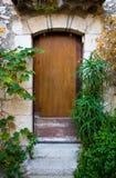 Eze Village Door and Plants Stock Image