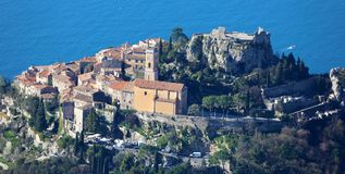 Eze village French riviera, Côte d`Azur, mediterranean coast, Eze, Saint-Tropez, Cannes and Monaco. Blue water and luxury yachts. French riviera, Côte d`Azur Stock Photos