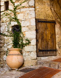 Eze Village Pot and Door Stock Image