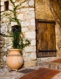 Eze Village Pot and Door Stock Image