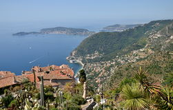 Eze village and view from the top of the hill on French Riviera. View from the top of the Eze garden on the village. Eze, renowned tourist site on the French royalty free stock photos