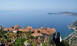Eze village and view from the top of the hill on French Riviera Stock Image