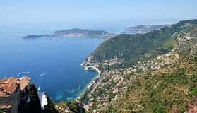 Eze village and view from the top of the hill on French Riviera Stock Images