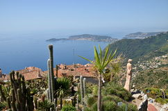 Eze village and view from the top of the hill on French Riviera. View from the top of the Eze garden on the village. Eze, renowned tourist site on the French stock photos