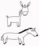 Ezel en paard Royalty-vrije Stock Fotografie