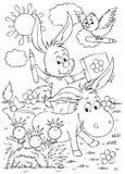 Ezel, konijn en vogel Royalty-vrije Stock Afbeeldingen