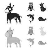 Ezel, uil, kangoeroe, haai De dierlijke vastgestelde inzamelingspictogrammen in zwarte, monochrom stileren vector de illustratiew Royalty-vrije Stock Foto's